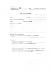 Bulletin d'adhésion UNSAF